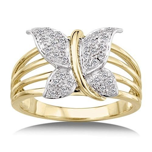 1/8 Carat Diamond Butterfly Ring - Yellow Gold Reg $199