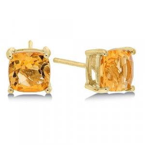 1.6 Carat Citrine Cushion Cut Stud Earrings in Yellow Gold Reg $149