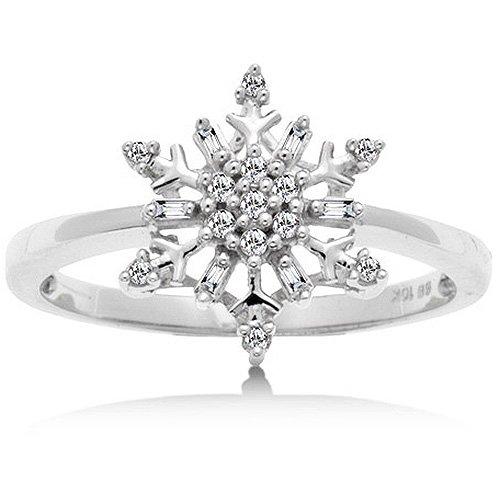 1/10 Carat Diamond Snowflake Ring in White Gold Reg $189