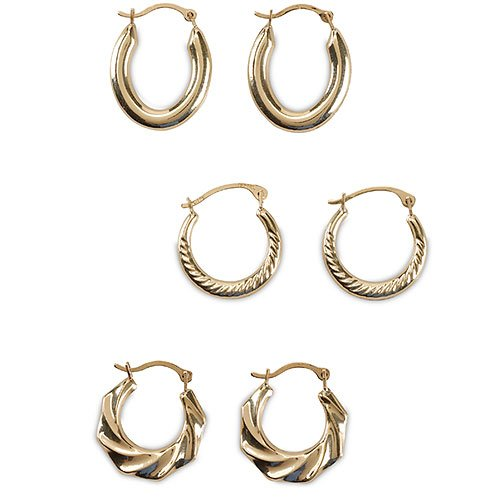 3 Pairs Gold Hoop Earring Set Reg $129