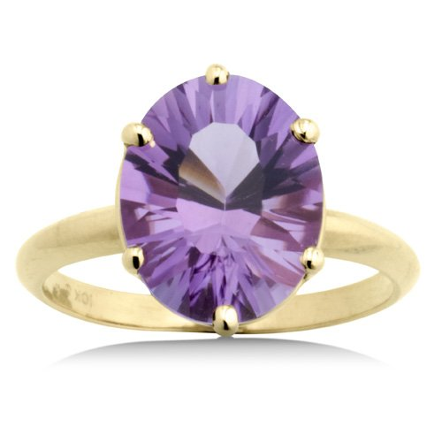 2 Carat Genuine Oval Amethyst Yellow Gold Ring Reg $199
