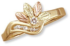 Black Hills Gold Ring with Genuine Diamond Reg $319