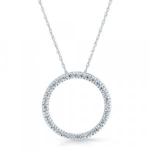 ".1 Ct Diamond ""Circle of Love"" White Gold Necklace Reg $279"
