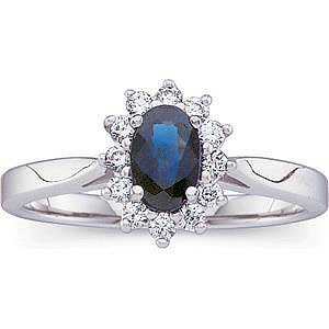 14K White Gold with Genuine Blue Sapphire and Diamond Ring Reg $1380