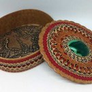 Casket large oval with red center - malachite
