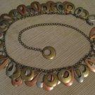 Chain Link Belt Open Oval Shaped Discs Copper Tone Brass Tone Silver Tone Metal