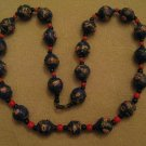 Wedding Cake Bead Necklace Venetian Murano Glass Navy Blue Roses 1930's
