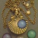 Kirk Folly Interchangable Rhinestone Faux Pearl Cabochon Fairy Pendant Necklace