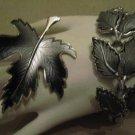 Gray Thermoset Leaf Silver Tone Bracelet Gray Enamel Maple Leaf Brooch