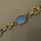 UnWorn 1/20 12K Gold Moonglow Blue Glass Fleur De Lis Cameo Style Bracelet VTG