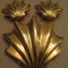 Never Worn Vintage Les Bernard Gold Tone Sea Shell Brooch Clip On Earring Set