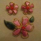 UnWorn Signed Swoboda Genuine Gemstone GoldTone Metal Flower Brooch Earring Set