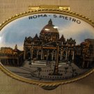 Roma S. Pietro Porcelain Gold Tone Metal Trinket Box Pill Box Salt Pepper Herb B