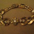 Un Worn Sarah Coventry Rhinestone Gold Tone Metal Sectional Bracelet