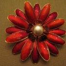 Germany HUGE 1950s Faux Pearl Clear Red Enamel GoldTone 3 D Flower Brooch Signed