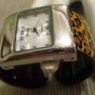 Geneva Quartz Womens Cuff Watch Lucite Leopard Print Band SilverTone Watch Case