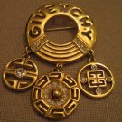 HUGE GIVENCHY Rhinestone Gold Tone Metal Dangle Charm Brooch 2 & 3/4 Inches