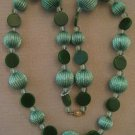 Green Bakelite Flat Disc Beads Sparkle Ribbed Lucite Bead White Glass Necklace