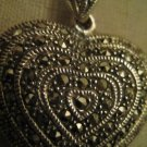 HUGE 16.8 Grams .925 Sterling Silver Heart Pendant Reversible Puffed Marcasite