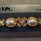 1928 Brooch AB Rhinestone Faux Pearl Gold Tone Metal Bar Shaped With Flowers