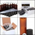 24, Amber Glass Roll On Bottles with 3-3 ml Dropper's Oil Roller Ball Empty 10ml