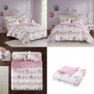 Comfort Spaces - Howdy Hoots Kids Bedspread Mini Quilt Set - 3 Piece - Pink
