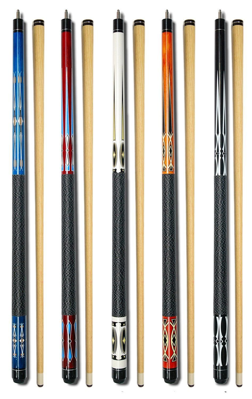 "Set of 5 Pool Cues New 58"" Billiard House Bar Pool Cue Sticks GJ-1~GJ-5"