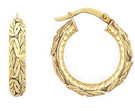 14k Gold Byzantine Hoop Earrings