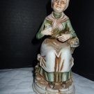 "Home Interiors Homco 6 1/4"" Old Lady Sitting With Floral Basket F355"