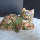 """Oriental Colorful 6 1/2"""" X 4"""" Cat Figurine Laying Down"""