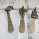 """Towle Holiday Wishes 3 (Three) Stainless Butter / Cheese 5"""" Spreaders"""