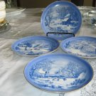 """Albert E. Price Currier and Ives Japan 8 1/4"""" Porcelain 4 (Four) Wall Plates"""
