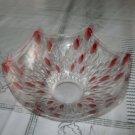 "Hexagonal Clear Crystal and Ruby Teardrop 7 1/2"" Bowl"