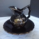 Japan Black with Gold Trim Pitcher and Bowl 5 1/4""