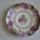 """Egerland O.E. & G. 1898 to 1918 Hand Painted Pink Floral Bohemia 10"""" Plate"""