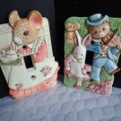 Takahashi Ceramic Bunnies Light Switch Single 2 (Two) Covers Made in Japan