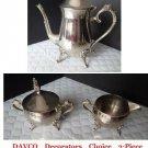 DAVCO Decorators Choice 3-Piece (Silverplate Hollowware) Coffee / Tea Set Crafte