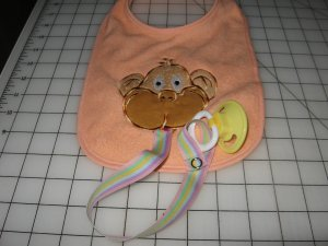 Monkey Binky bib