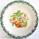 "Peaches Dinner Plate SpongeWare Green Rim Himark 10 1/4"""