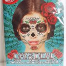 Day Of The Dead Glitter and Roses Temporary Face Tattoo Skull