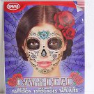 Glitter Day Of The Dead Temporary Face Tattoo Skull Floral