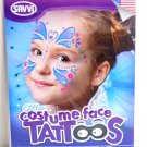 Glitter Hearts and Flowers Costume Face Temporary Tatoos