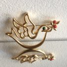 Vintage Gold Christmas Peace Dove Pin Brooch with Red Berry Branch