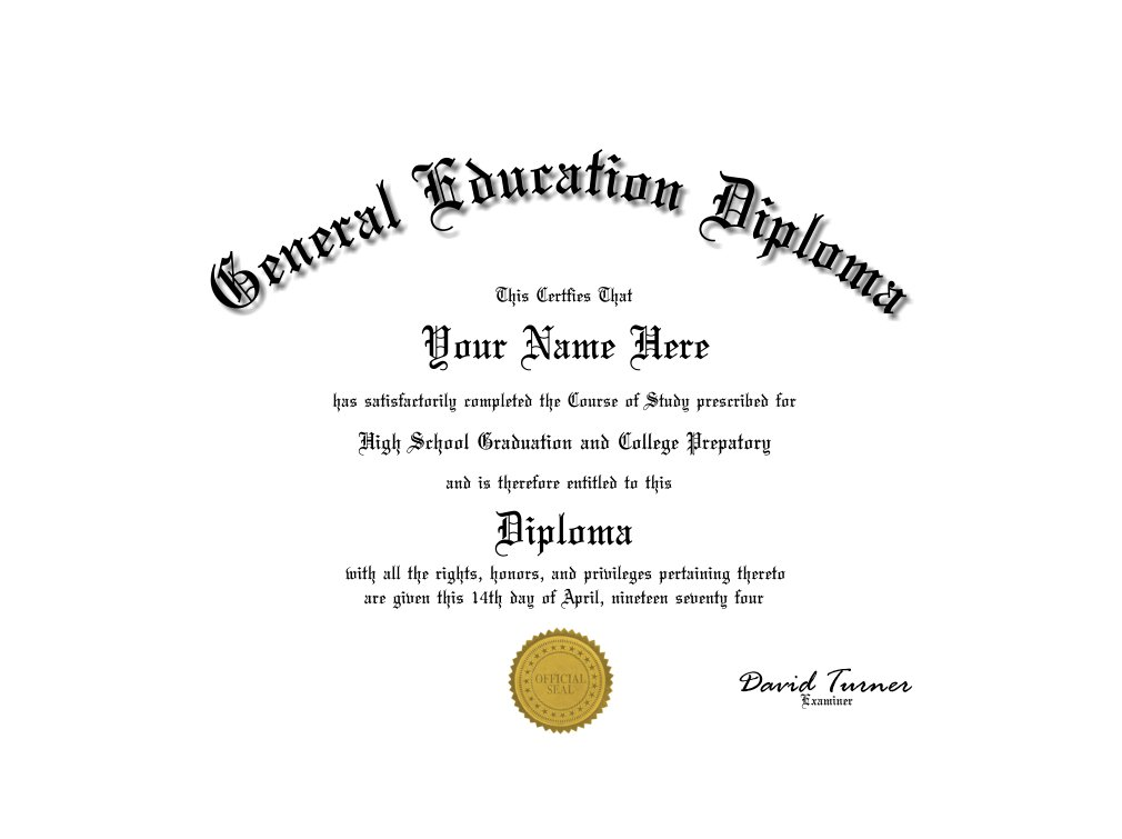 A Funfakegag No Border Ged Diploma With Gold Seal With Free Shipping