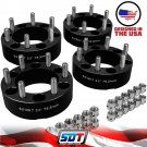 "(4) 2"" Inch Chevy GMC K1500 K2500 C2500 6 Lug 6x5.5 Wheel Spacers Adapter Black"