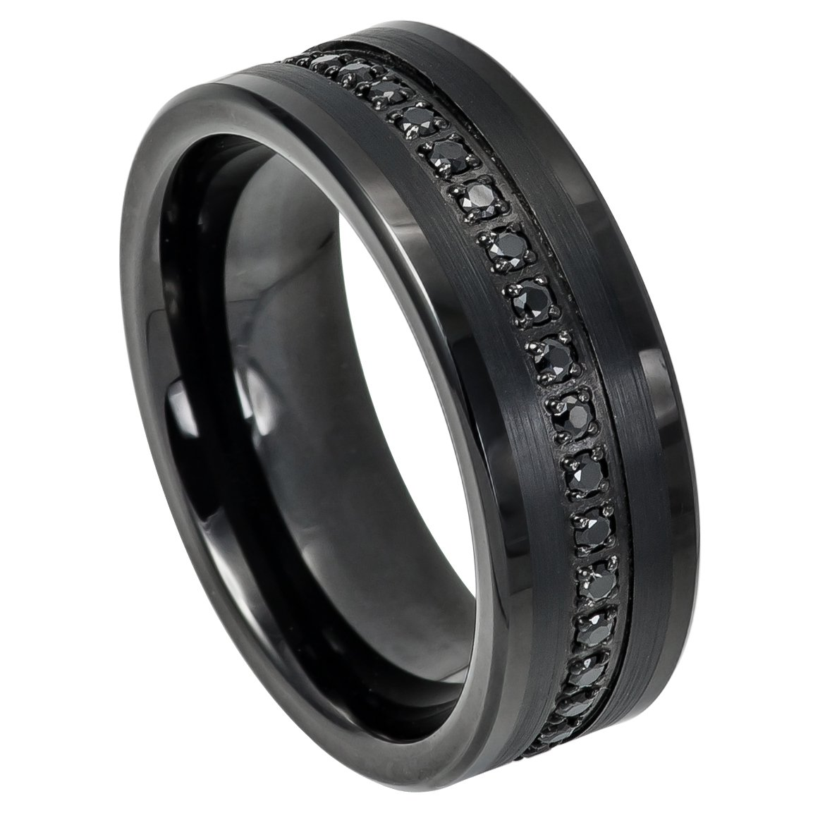 8mm Black IP Tungsten Eternity Band with Prong-Set Round Black CZs