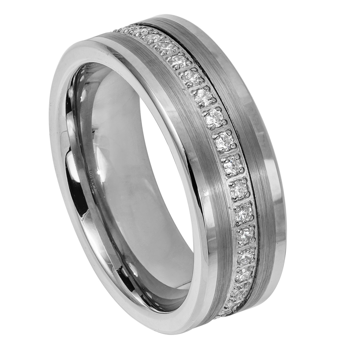8mm Tungsten Eternity Band with Prong-Set Round White CZs