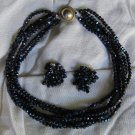 1950's Castlecliff Black Bead Seven Strand Necklace & Matching Clip On Earrings