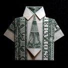 Origami Mens Dress SHIRT with Tie Art Gift Money Handmade Real $1 Dollar Bill