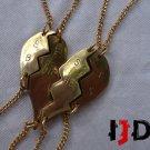 Golden Heart Pendant - Golden Heart Necklace - Four Part Heart - Friends Necklace - BFF Necklace